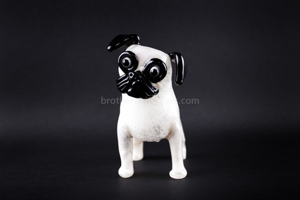 Chameleon Glass Curious Pug Puppy Hand Pipe - Brothers with Glass - 1