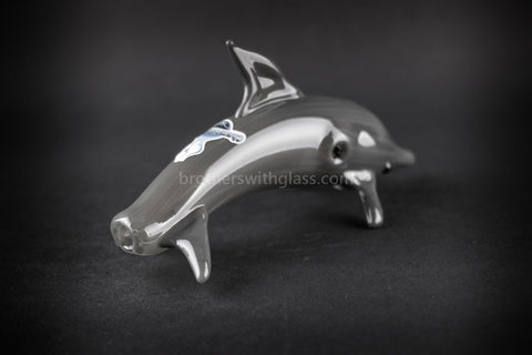 Chameleon Glass Dolphin Hand Pipe - Brothers with Glass - 2