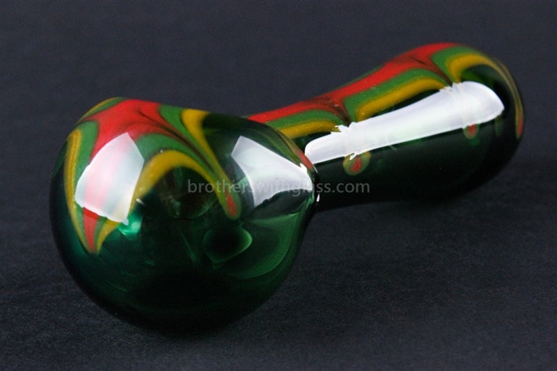 Chameleon Glass Irie Rasta Hand Pipe - Green - Brothers with Glass - 4
