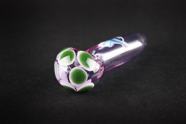 Chameleon Glass Double Dot Hand Pipe - Amethyst Purple - Brothers with Glass - 1
