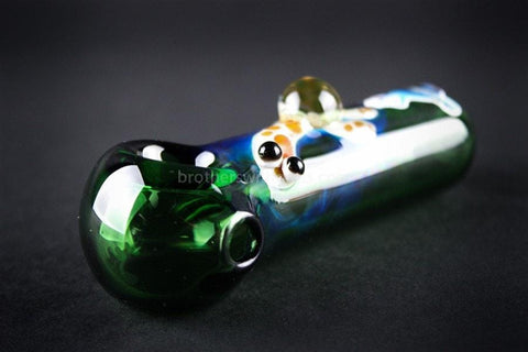 Chameleon Glass Fumed Turtle Hand Pipe - Green - Brothers with Glass - 2