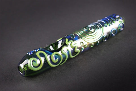 Chameleon Glass Kobaya Ashi Maru Steamroller Hand Pipe - Green - Brothers with Glass - 1