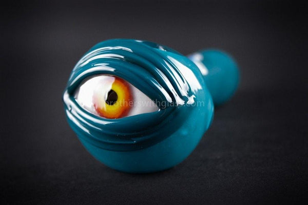 Chameleon Glass Cyclops Hand Pipe - Teal - Brothers with Glass - 1
