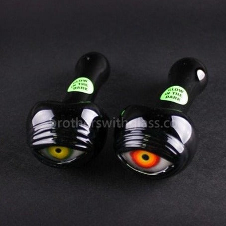 Chameleon Glass Cyclops Glow In The Dark Eyeball Hand Pipe - Brothers with Glass - 1