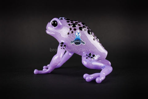 Chameleon Glass Purple Poison Dart Frog Hand Pipe - Brothers with Glass - 2
