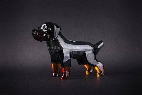 Chameleon Glass Cujo Rottweiler Dog Hand Pipe - Brothers with Glass - 1