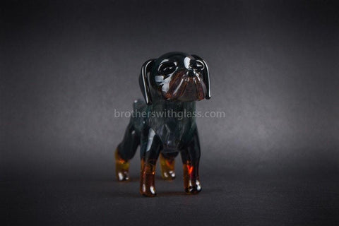 Chameleon Glass Cujo Rottweiler Dog Hand Pipe - Brothers with Glass - 2