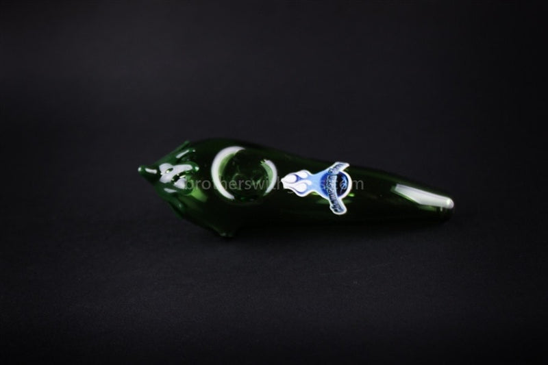 Chameleon Glass Green Poblano Chili Pepper Hand Pipe - Brothers with Glass - 2