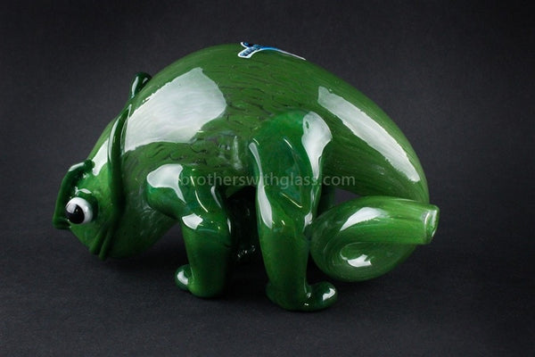 Chameleon Glass Hand Sculpted Panther Chameleon Hand Pipe - Brothers with Glass - 1