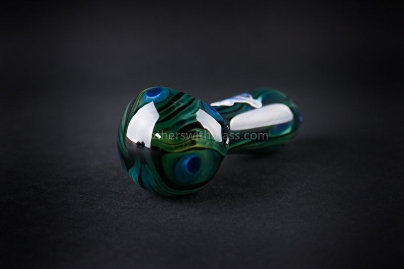 Chameleon Glass Safari Series Hand Pipe - Peacock - Brothers with Glass - 2