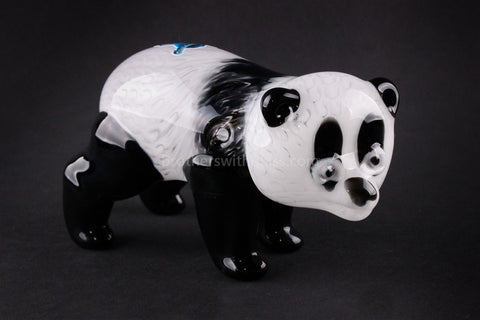 Chameleon Glass Panda Bear Hand Sculpted Hand Pipe - Brothers with Glass - 1