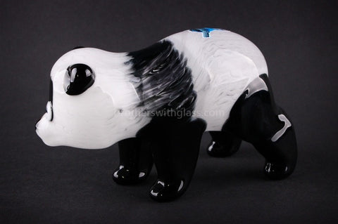 Chameleon Glass Panda Bear Hand Sculpted Hand Pipe - Brothers with Glass - 2