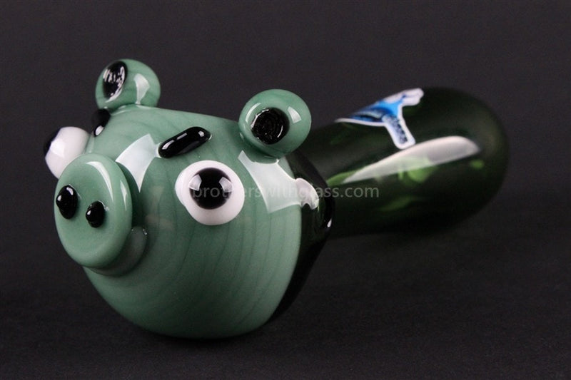 Chameleon Glass Sinister Swine Pig Hand Pipe - Brothers with Glass - 1