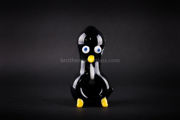 Chameleon Glass Sculpted Bird Hand Pipe - Chilly Willy Penguin - Brothers with Glass - 1