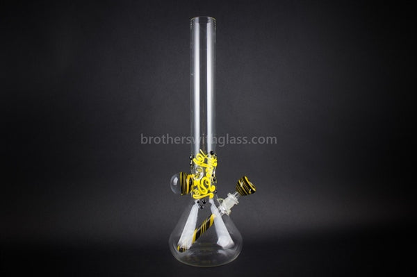 Realazation 16 In Glass Reversal Water Pipe - Black n Yellow - Brothers with Glass - 1
