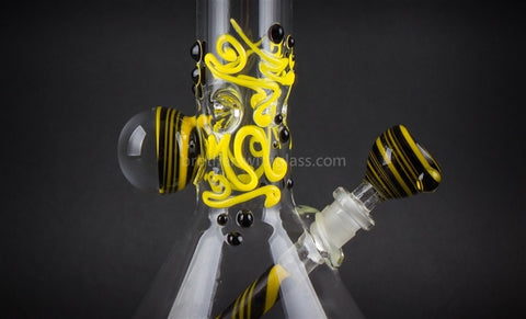 Realazation 16 In Glass Reversal Water Pipe - Black n Yellow - Brothers with Glass - 2