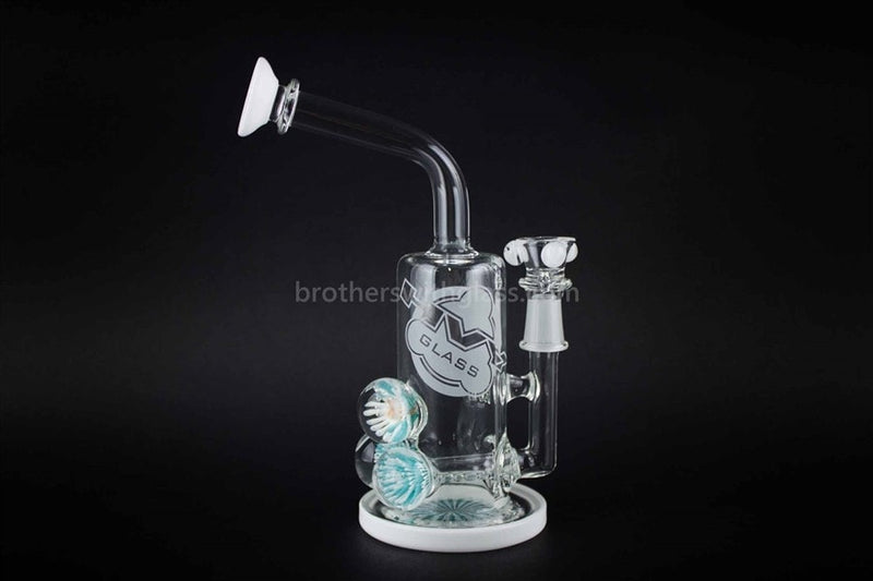 HVY Glass Marbled Bent Neck Inline Dab Rig And Water Pipe - Brothers with Glass - 1