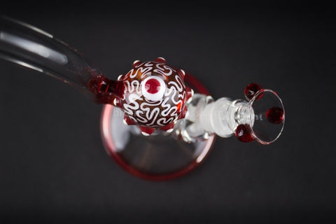 HVY Glass Heady Red Bent Neck Eye Bubbler Water Pipe - Brothers with Glass - 3