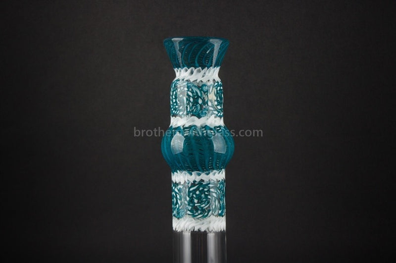 HVY Glass Mini Genie Double Bubble Water Pipe - Blue - Brothers with Glass - 5