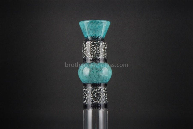 HVY Glass Mini Genie Double Bubble Water Pipe - Teal and Black - Brothers with Glass - 3