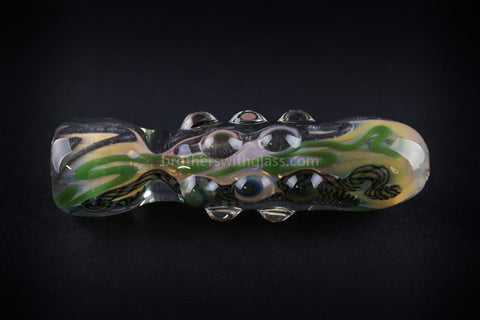 Greenlite Glass Inside Out Marbled Chillum Hand Pipe - Brothers with Glass - 1