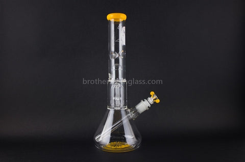 HVY Glass TED 2 Tree Perc Beaker Water Pipe - Yellow Trim - Brothers with Glass - 1