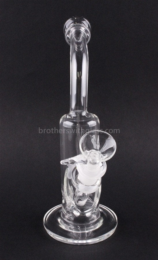 HVY Glass Mini Bent Neck Bubbler Water Pipe - Clear - Brothers with Glass - 2