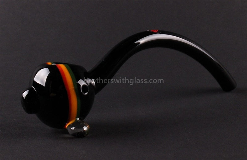 Mathematix Glass 8 In Striped Gandalf Hand Pipe - Black and Rasta - Brothers with Glass - 1