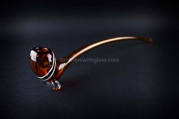 Mathematix Glass 13 In Striped Gandalf Hand Pipe - Amber - Brothers with Glass - 1
