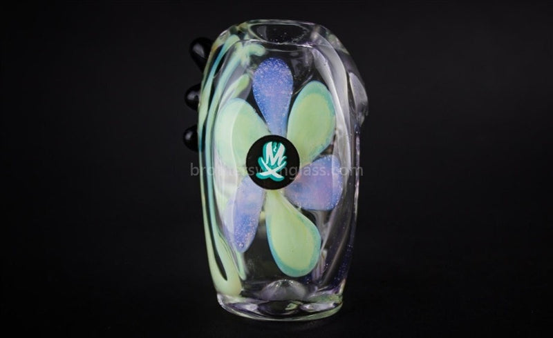 Mathematix Glass Flower Hammer Twisted Hand Pipe - Brothers with Glass - 3
