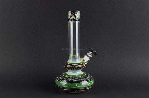 HVY Glass WRKD Double Bubble Bottom Waterpipe - Deep Forest - Brothers with Glass - 1