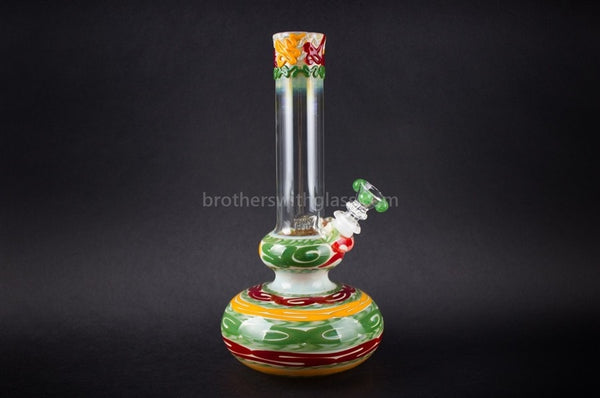 HVY Glass WRKD Double Bubble Bottom Water Pipe - Rasta - Brothers with Glass - 1