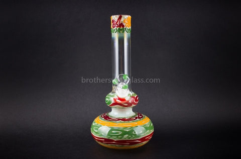 HVY Glass WRKD Double Bubble Bottom Water Pipe - Rasta - Brothers with Glass - 2