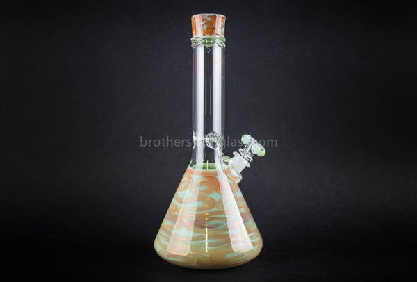 HVY Glass Fumed Worked Coil Beaker - Amber Mint - Brothers with Glass - 1