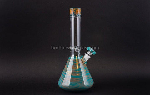HVY Glass Fumed Worked Coil Beaker - Teal and Copper - Brothers with Glass - 1