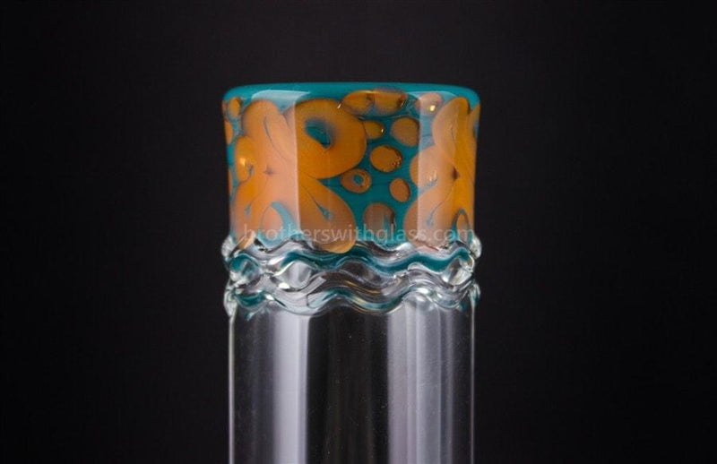 HVY Glass Fumed Worked Coil Beaker - Teal and Copper - Brothers with Glass - 3