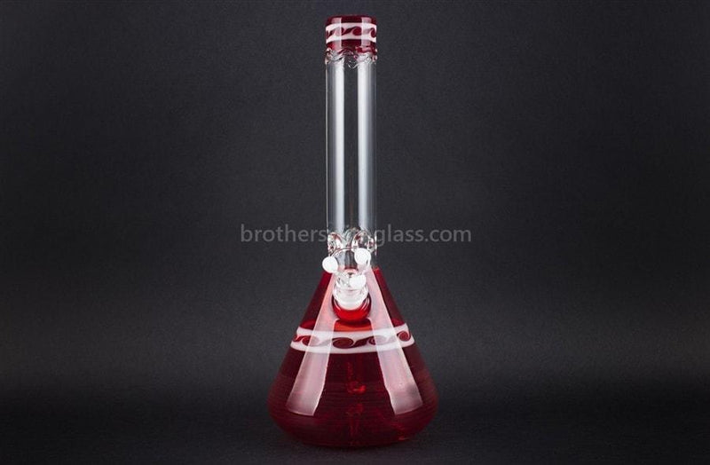 HVY Glass Worked Ruby Red and White Waves Beaker - Brothers with Glass - 2