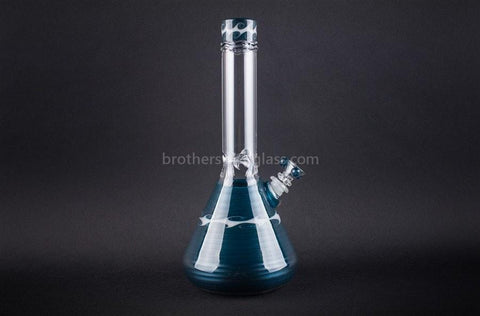 HVY Glass Worked Beaker Shiny Teal and White Waves - Brothers with Glass - 1
