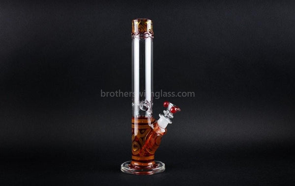 HVY Glass Straight Colored Coil Water Pipe - Ruby Red - Brothers with Glass - 1