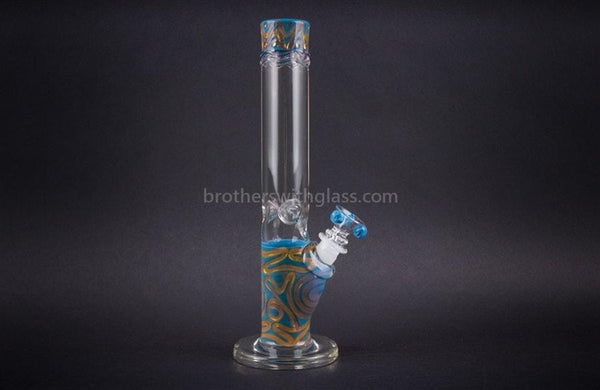 HVY Glass Straight Colored Coil Water Pipe - Teal and Gold - Brothers with Glass - 1