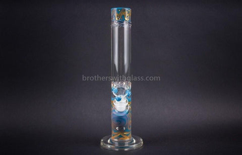 HVY Glass Straight Colored Coil Water Pipe - Teal and Gold - Brothers with Glass - 2