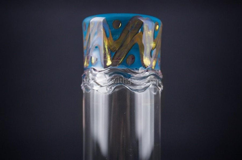 HVY Glass Straight Colored Coil Water Pipe - Teal and Gold - Brothers with Glass - 4