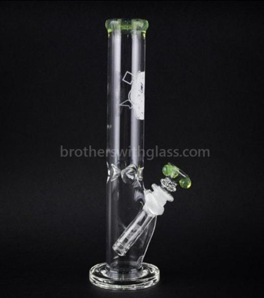 HVY Glass 10 In Color Wrap Straight Water Pipe - Slyme - Brothers with Glass - 1