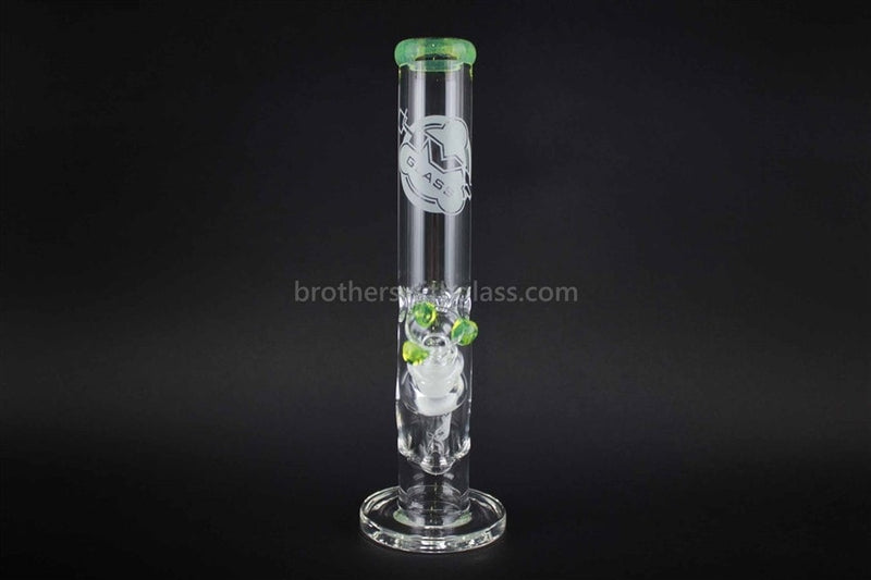 HVY Glass 10 Inch Clear Curve Water Pipe - Slyme Trim - Brothers with Glass - 2