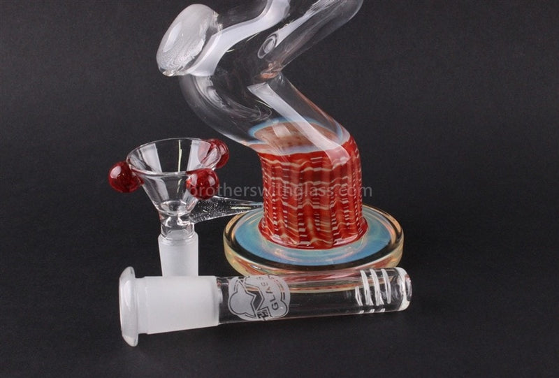 HVY Fumed Red Line Work Curve Water Pipe 10 In - Brothers with Glass - 3