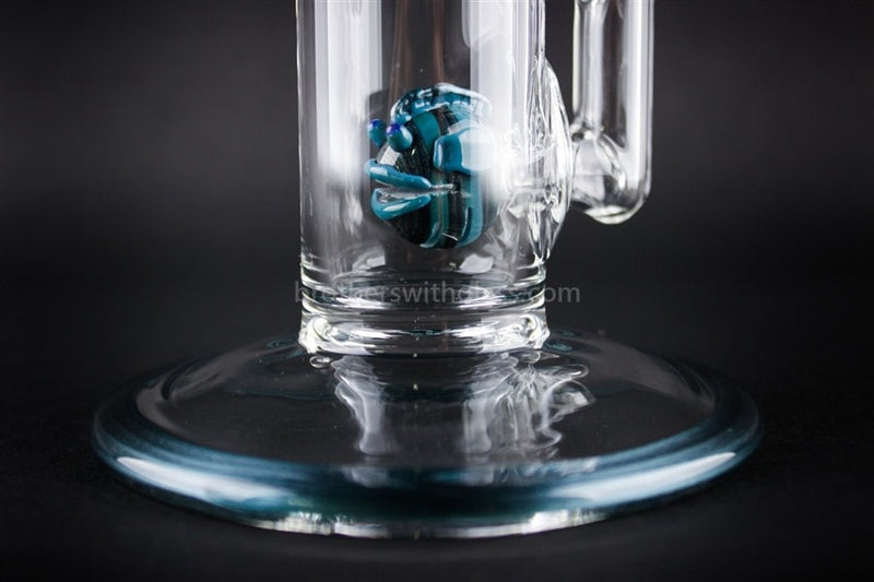 HVY Glass 32mm Straight Fish Perc Dab Rig - Ocean Teal - Brothers with Glass - 3