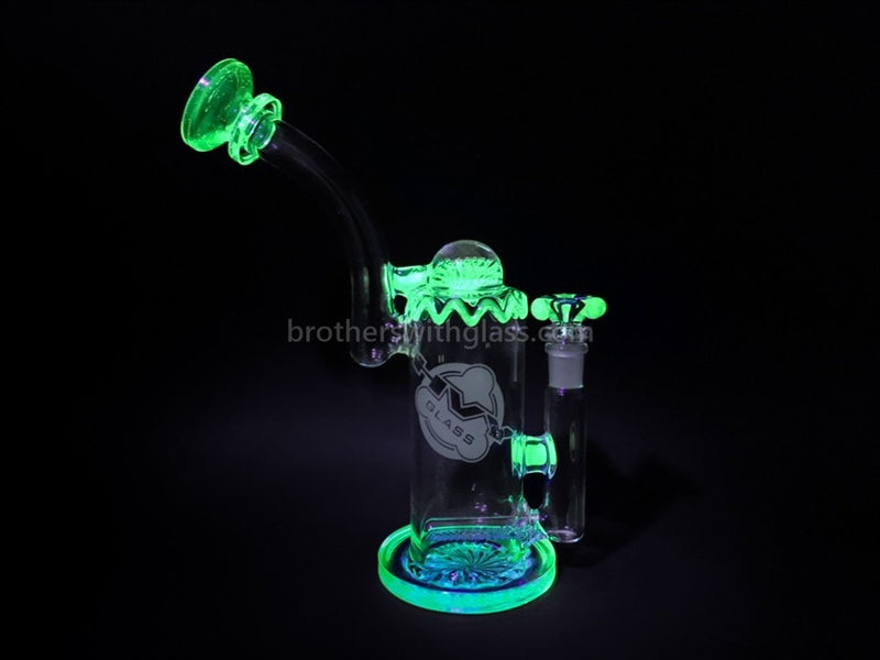 HVY Glass Heady Illuminati UV Reactive Inline Bubbler Water Pipe - Brothers with Glass - 7