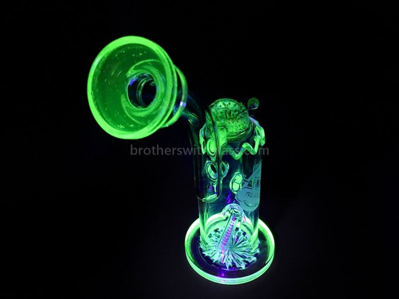 HVY Glass Heady Illuminati UV Reactive Inline Bubbler Water Pipe - Brothers with Glass - 8