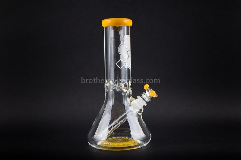 HVY Glass 10 In Color Wrap Beaker 9mm - Sunshine Yellow - Brothers with Glass - 1