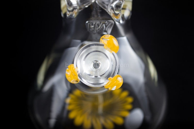 HVY Glass 10 In Color Wrap Beaker 9mm - Sunshine Yellow - Brothers with Glass - 6